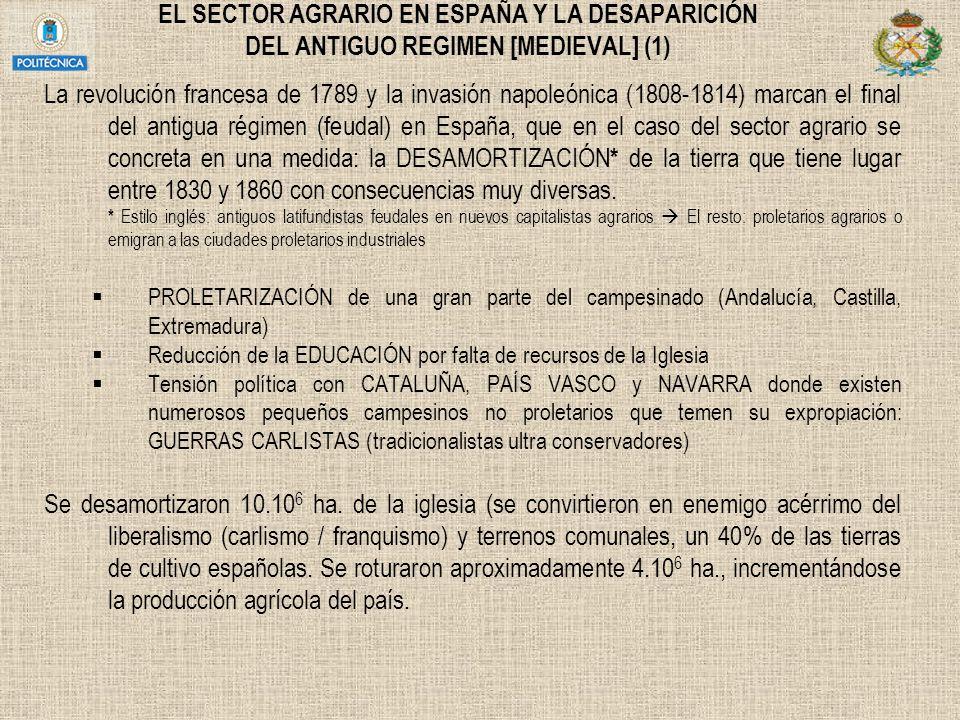 EL SECTOR AGRARIO EN ESPAÑA Y LA DESAPARICIÓN DEL ANTIGUO REGIMEN [MEDIEVAL] (1)